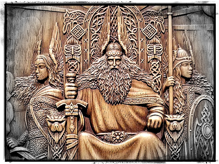 Odin and Valkyries hand carved wood by Oleg Wood Art