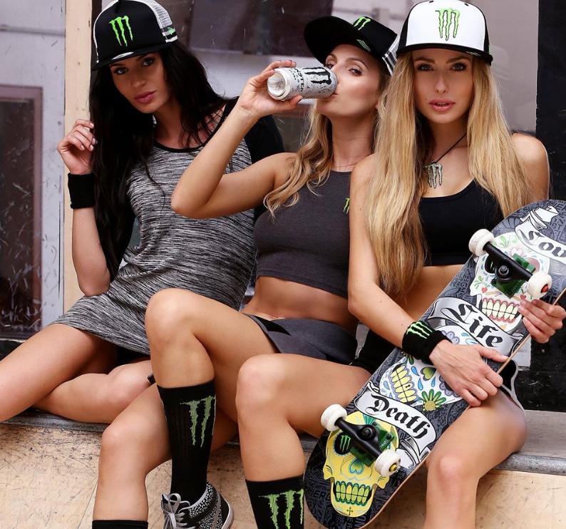 Monster Energy Girls gone skateboardin'