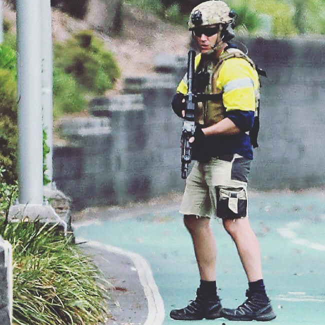 An Australian SERT officer who had to grab and go. He is in a Tyr Tactical PC.