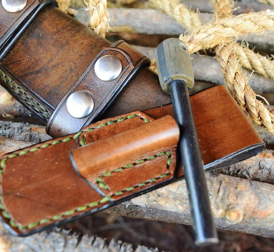 Survival hardware custom leather goods and handmade survival tools