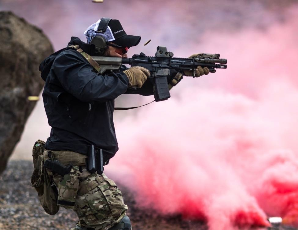SOPMOD stock somewhat theatrically in action (via B5 Systems social media).