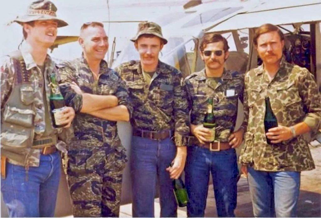Navy SEALS wearing tigerstrip camouflage in Vietnam.