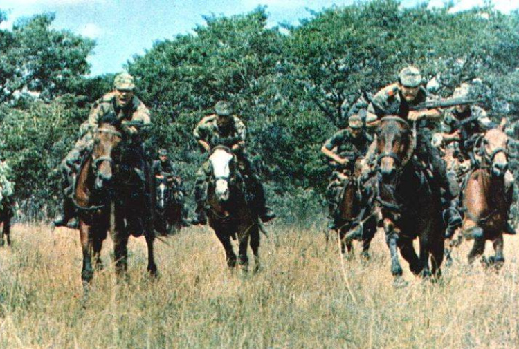 he Portuguese military wore its own version of lizard camo in its wars in Africa. The soldiers seem somewhat anachronistic wearing modern camouflage while mounted on horses for a cavalry style reconnaissance mission.