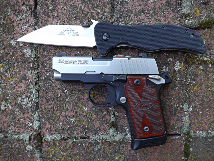 Emerson Seax with Sig Sauer pistol for EDC