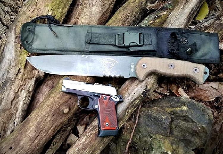 RTAK field knife, sheath, and pistol.