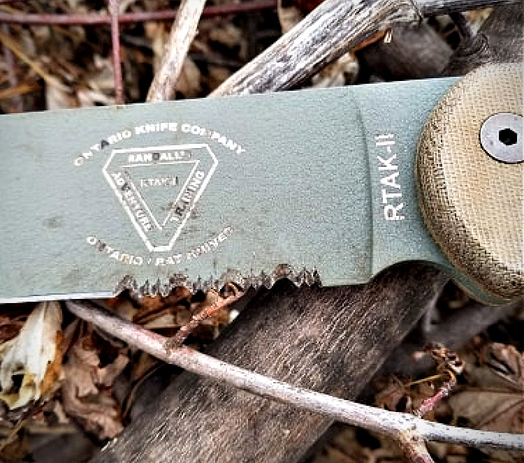 RTAK II field knife surface rust in areas without powder coating.